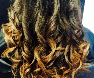brunette, curls, and hair image