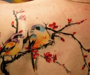 bird, tattoo, and cherry blossoms image
