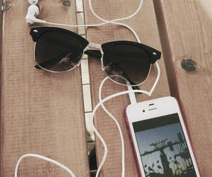 iphone, music, and sunglasses image