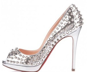 silver, spikes, and red bottom heels image