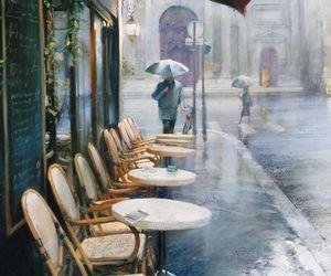 art, cafe, and rain image