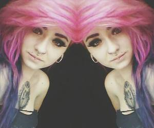 girl, pretty, and pink hair image