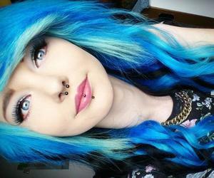 blue hair, scene, and girl image