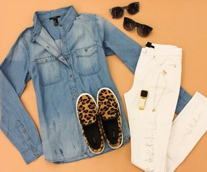 outfit, jeans, and leopard image