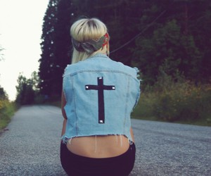 girl, cross, and blonde image