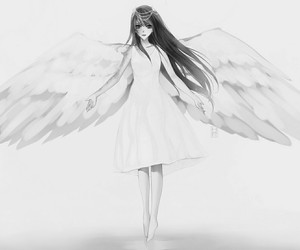 angel, anime, and black and white image