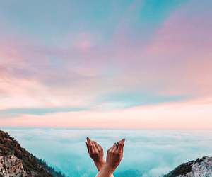 clouds, grunge, and hands image