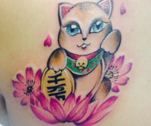 asian, cat tattoo, and japanese image