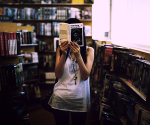 book, girl, and bookstore image