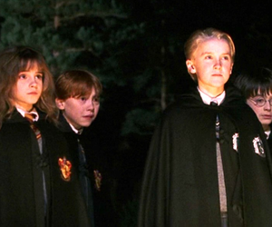 draco malfoy, harry potter, and hermione granger image