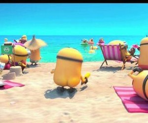 minions, beach, and funny image