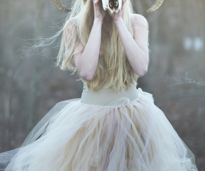 dress, skull, and white image