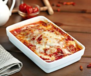 food, lasagne, and cheese image