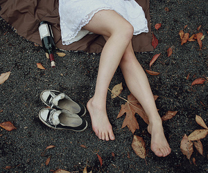 girl, shoes, and leaves image