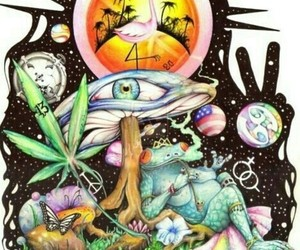 weed, peace, and trippy image
