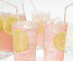 drink, lemon, and pink image