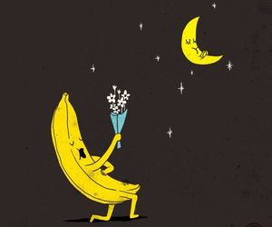 love, banana, and moon image