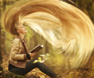 hair, girl, and book image