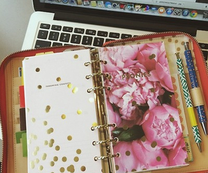 filofax, gold, and planner image