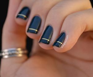 black, gold, and nail art image