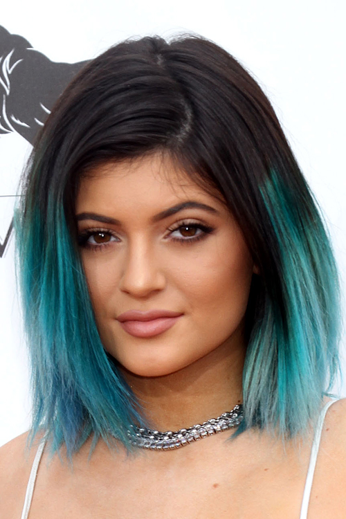 Kylie Jenner Straight Black Blue Dip Dyed Two Tone Hairstyle