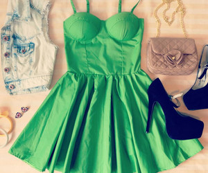 dress, fashion, and green image