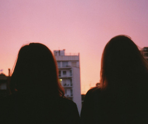 girls, sunset, and friends image