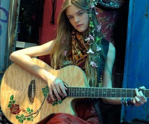 girl, flowers, and guitar image