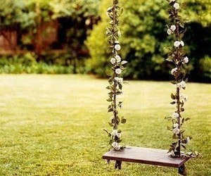 swing, flowers, and nature image