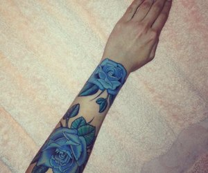 tattoo, blue, and rose image