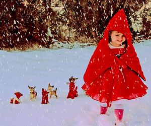 kid girl red snow image