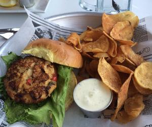 food, seafood, and crab cake image