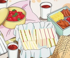 bento, sandwiches, and strawberries image