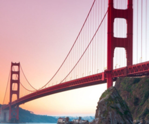 bridge, sunrise, and tourist attraction image