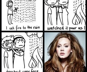 Adele, funny, and set fire to the rain image