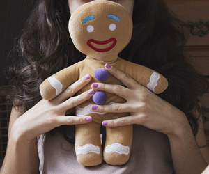 gingerbread man, stuffed toy, and girl image