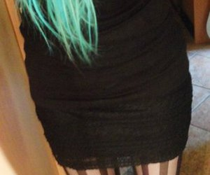 legs, heels, and turquoise hair image