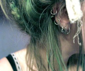 piercing, hair, and green image