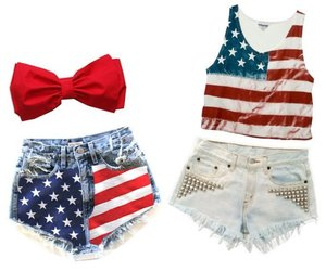 outfit, usa, and shorts image