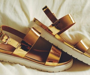 gold, sandals, and shoes image