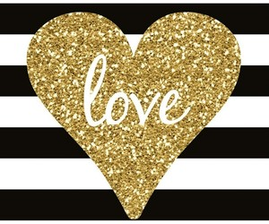 black and white, gold, and heart image