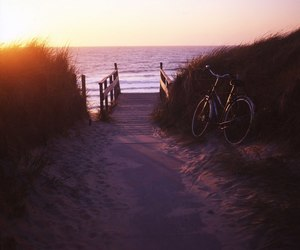 bicycle, sea, and waves image