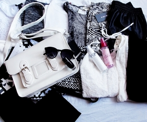 bag, clothes, and sunglasses image