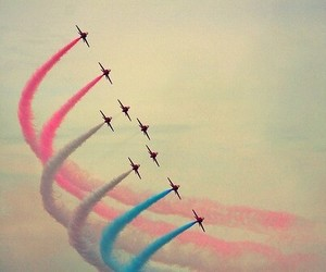 sky, airplane, and pink image