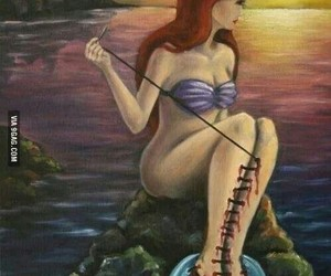 sad, mermaid, and society image