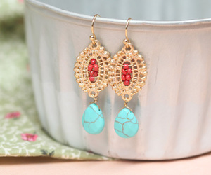 earrings, gold, and turquoise image