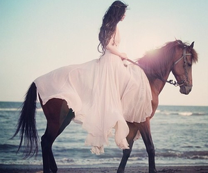 girl, gorgeous, and horse image