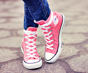 all stars, pink, and converse image