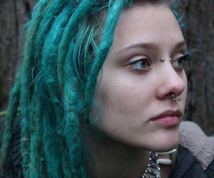 piercing, dreads, and blue image