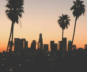 city, sunset, and california image